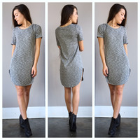 A Ribbed Knit Dress in Charcoal