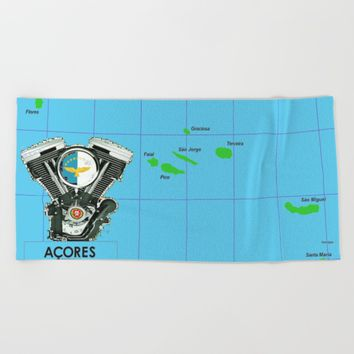 Azores Motorcycle Islanders. Beach Towel by Tony Silveira