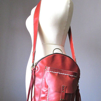 Cross body bag, Saddle leather bag, Leather Backpack, convertible backpack bag, Rucksack