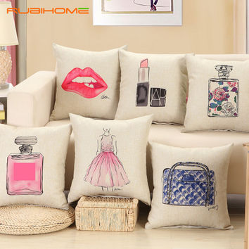 Fashion Red Lips Lipstick Perfume bottle Decorative Cushion Pillows Covers (FREE SHIPPING)