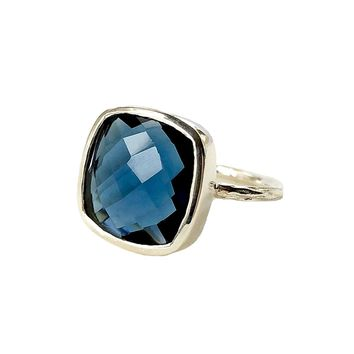 Dark Blue Quartz Silver Statement Ring