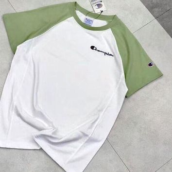 Champion New Fashion Colorful Sleeve & White Fresh Color Women Men Tee Shirt Top Green