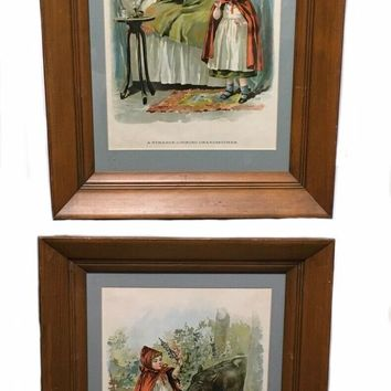 Antique Framed Lithograph Little Red Riding Hood Bad Wolf Mc Loughlin Victorian