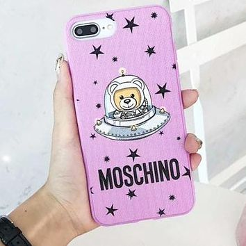 MOSCHINO Trending Women Men Stylish Cute Stars Astronauts Mobile Phone Cover Case For iphone 6 6s 6plus 6s-plus 7 7plus 8 8plus X XsMax XR Pink