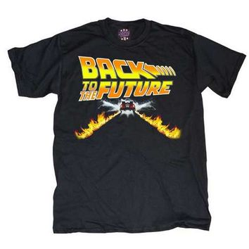 Back to the Future Flames Adult Black T-shirt