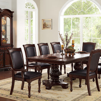 Poundex F2182-1729-1730 7 pc kathryn ii dark brown finish wood double pedestal dining table set with vinyl seats