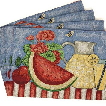 Tache Fruity Drinks Watermelon Lemonade Woven Tapestry Placemat (13082PM)
