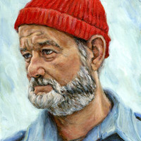 Bill Murray as Steve Zissou - 5x7 Print - Life Aquatic Portrait Painting