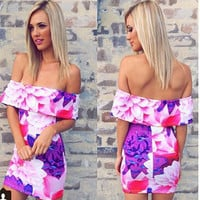 Sexy Fashion Print Off Shoulder New Arrival Summer Strapless Stylish One Piece Dress = 5826479809