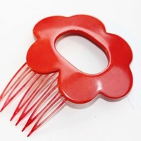 60s Flower Comb Red from Diament Jewelry