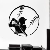 Wall Stcker Softball Player Girl Woman Vinyl Decal Unique Gift (z3044)