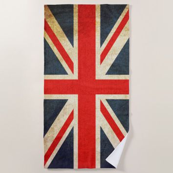 Vintage Union Jack British Flag Beach Towel
