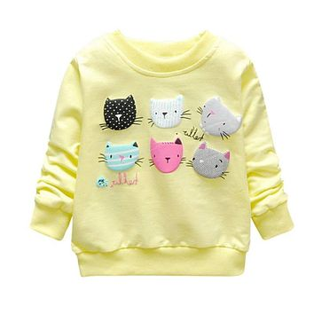 Print Girls Cartoon Cat Sweatshirts Spring Casual Kids Clothes Long Sleeve Baby Girl Pullover Girls Clothing #1658