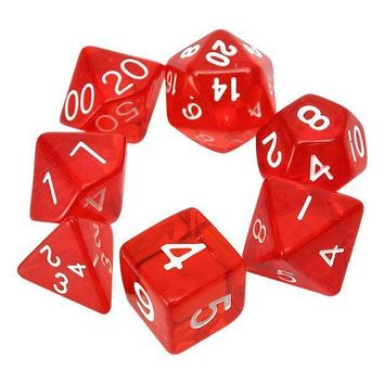 7 Dice Sided D4 D6 D8 D10 D12 D20 Mtg Magic The Gathering D Transparent Red