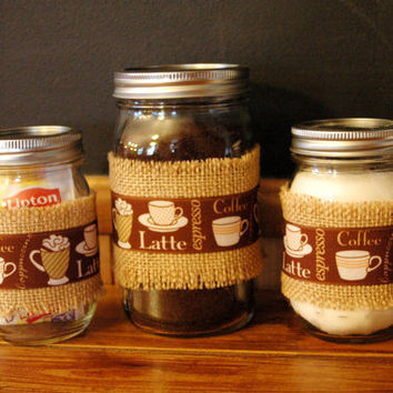 Coffee Break collection set of 3 Mason Jars decorated with ribbon and burlap