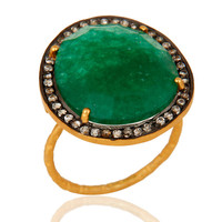 Prong Set Semi Precious Gemstone Green Aventurine Ring In Gold Plated Silver