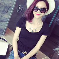 Thin Simple Round Neck Solid Color T-Shirt