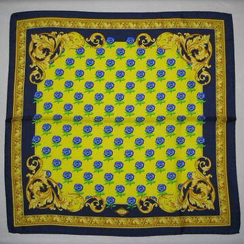 MINT. Vintage Gianni Versace yellow, blue, green, and gold Victorian and flower pattern print silk scarf. Gorgeous masterpiece from Italy