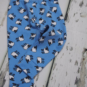 Sheep Leggings, baby leggings, toddler leggings, unisex baby, boys leggings, girls leggings, baby pants, boys trousers, girls trousers, blue
