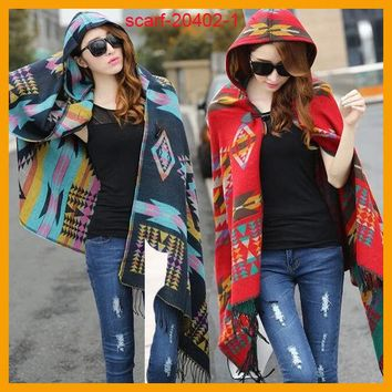 DCCKJG2 Women Bohemian Hooded Coat Cape Poncho Shawl Scarf Tribal Fringe Hoodie Jacket