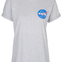 NASA Badge Tee By Tee And Cake - Grey Marl