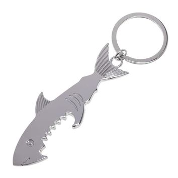 Shark Shaped Bottle Opener Keychain shaped zinc alloy Silver Color Key Ring Beer Bottle Opener Unique Creative Gift