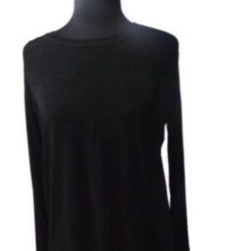 CHICOS Private Edition Career Work BLACK Slinky Stretch Top Shirt Size 0