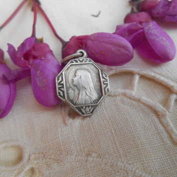 Art Deco Maria Magdalena French Medal Sainte BAUME Souvenir from 1930s Silver Plated Catholic Medal Religious Collectible