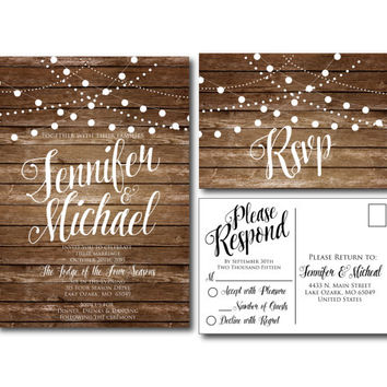 Rustic Wedding Invitation - Country Chic - Fall Wedding - Printable Wedding Invitation - Rsvp Postcard - Wedding Rsvp - Printable File