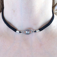 Evil Eye Choker Protection Necklace, Good Luck Necklace, Greek Mati Charm pendant