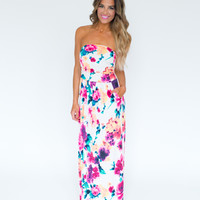 Floral Printed Strapless Maxi Dress- White