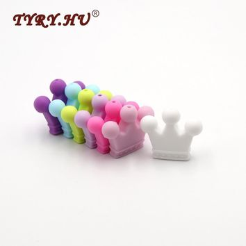 TYRY.HU 10pcs Baby Teether Candy Crown Silicone Beads Materials for Pacifier Clips DIY Girls Cute Teething Toys Christmas Gifts