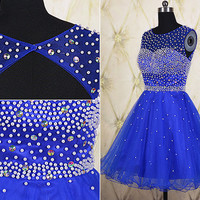 Royal blue tulle short homecoming dress,beaded short prom dress,sequined homecoming dress,key hole party dress,wedding party dress DP221