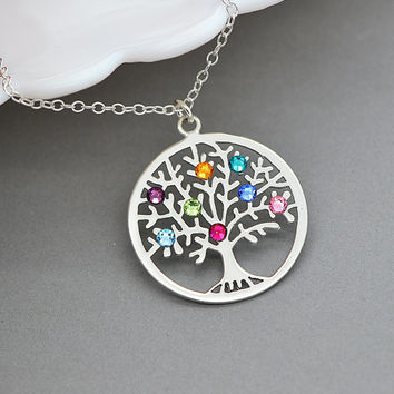 Tree Of Life Necklace, Sterling Silver Family Tree Necklace, Birthstone Tree Necklace, Gift For Mother, Tree Of Life Pendant, Gift For Her