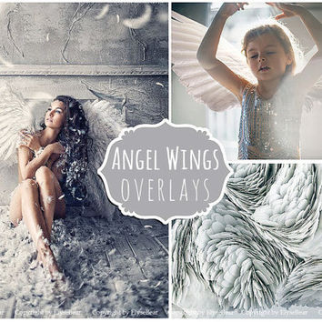 White Angel Wings Photoshop Overlays PNG: Photo editing Layer for Valentine's day card mini sessions, Newborn photoshoot effect