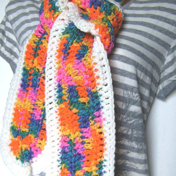 Crochet Rainbow and White Multicolor Fashion Scarf for Women and Children