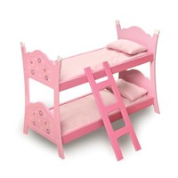 Badger Basket Blossoms And Butterflies Doll Bunk Beds With Ladder - Pink/Purple