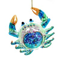 Holiday Ornaments Crab Glass Ornament