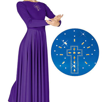 Eurotard Polyester Dress with Shining Cross Applique - Child