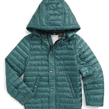 Boy's Burberry 'Mini Dawes' Quilted Nylon Hooded Jacket,