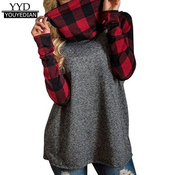 Womens Turtleneck Causal Loose Long Sleeve Plaid Patchwork Tshirts Tunic Pullover Tops Women Clothes Autumn Winter 2017 #1120