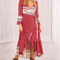 Averlee Bohemian Print Wrap Maxi Dress