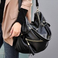 Women Lady Korean Hobo PU Tassel Leather Handbag Shoulder Bag Large Capacity LN