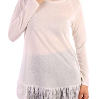 Pullover Knit Sweater W/ Lace Trim