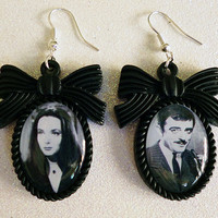 Morticia and Gomez Addams Inspired Cameo Earrings