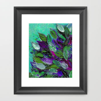 BLOOMING BEAUTIFUL 1 - Floral Painting Mint Green Seafoam Purple White Leaves Petals Summer Flowers Framed Art Print by EbiEmporium