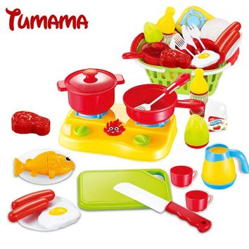 Tumama Pretend Play Kitchen Toys Baby Miniature Food Fruit Vegetable Basket Oven Cutting Knife Kettle Kitchen Cooking Toys