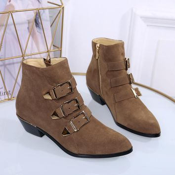 Chloe  Trending Men Women Black Leather Side Zip Lace-up Ankle Boots Shoes High Boots