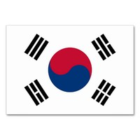 Patriotic table card with Flag of South Korea