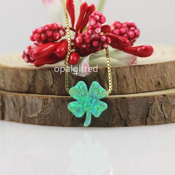2017 Hot Sale Fancy 12*13mm Green Clover Opal pendant for Spring Festival gift 925 Silver necklace for Women/girls